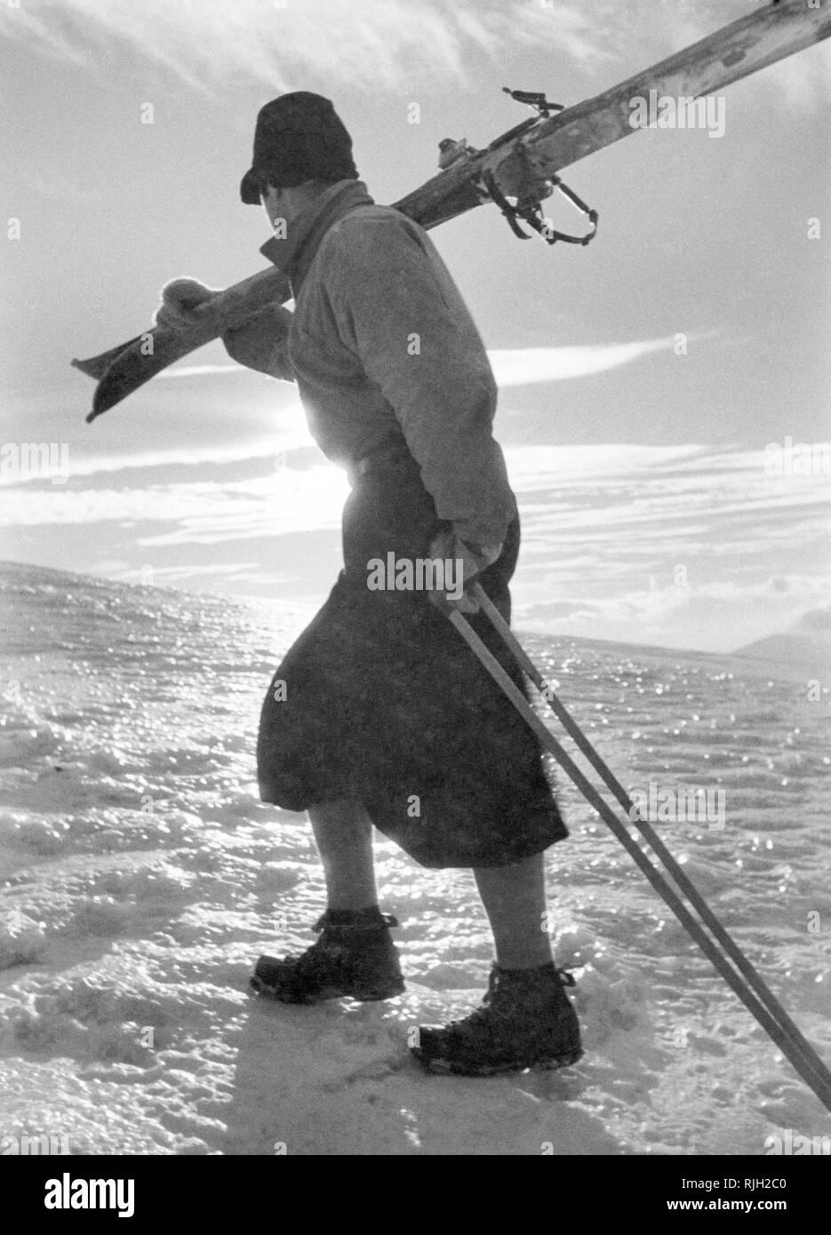 ski, gran sasso, 1950 - Stock Image