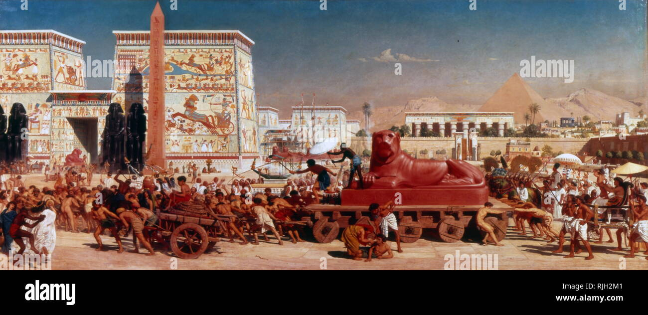 Illustration showing a stylized ancient Egyptian city with royal procession and pyramid. A sphinx is pulled on a wheeled cart. Circa 1910 - Stock Image
