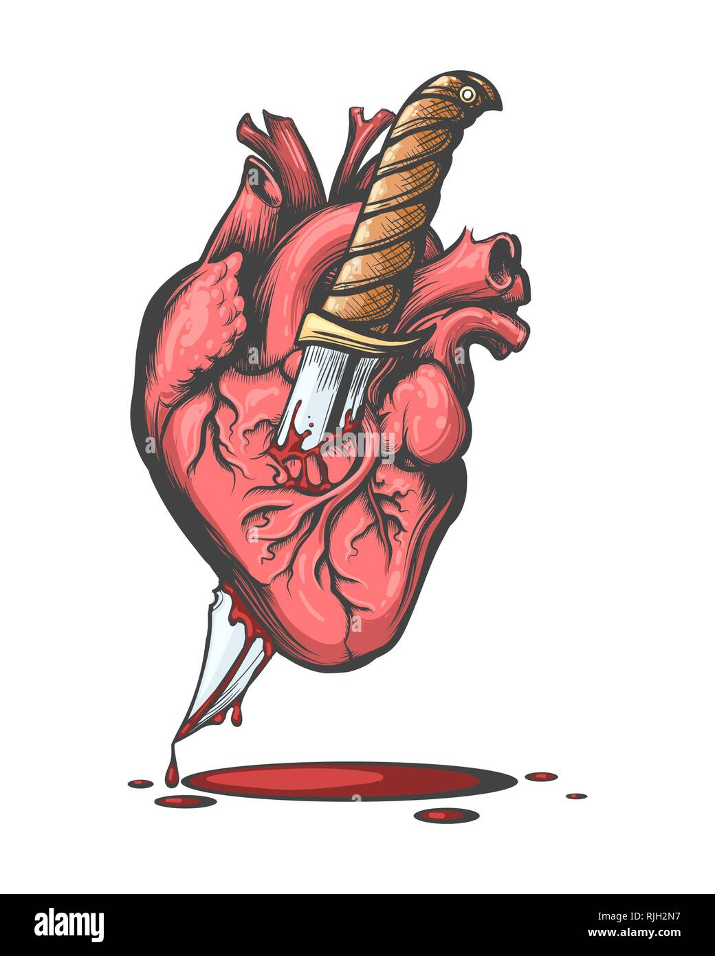 Bleeding Human Heart Pierced by Knife drawn in tattoo style. Vector illustration. - Stock Vector
