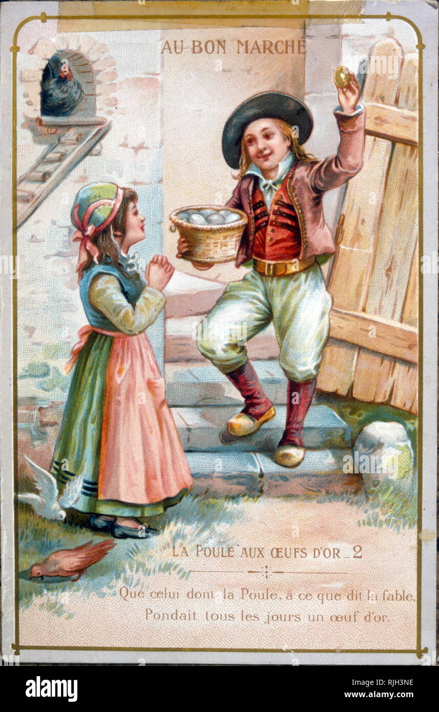 French, Illustrated card, showing a children's story, the Chicken and the Golden Egg. 1900 - Stock Image