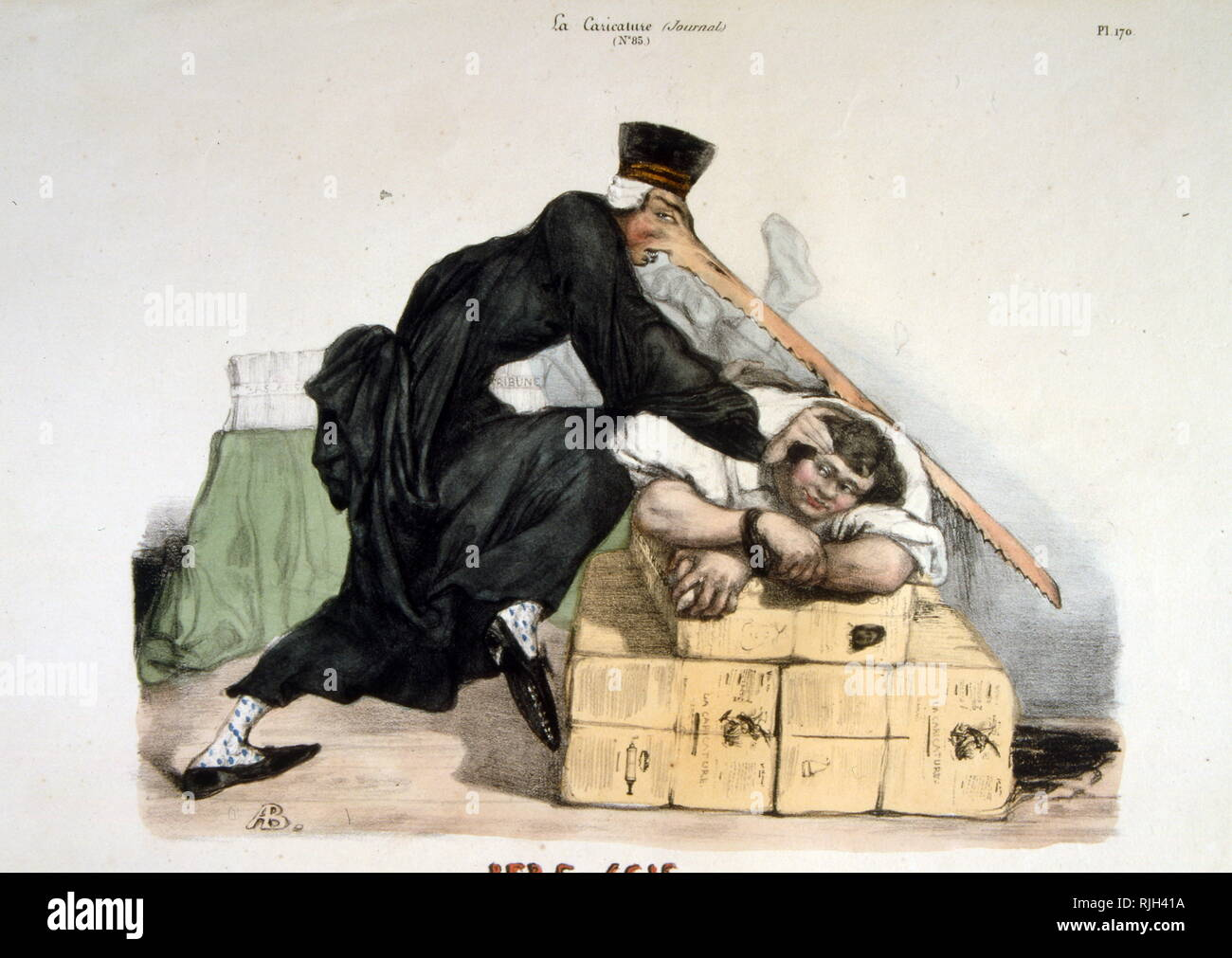 Caricature of the French state executing rebels in 1832. The June Rebellion or the Paris Uprising of 1832, was an anti-monarchist insurrection of Parisian republicans on 5 and 6 June 1832 - Stock Image