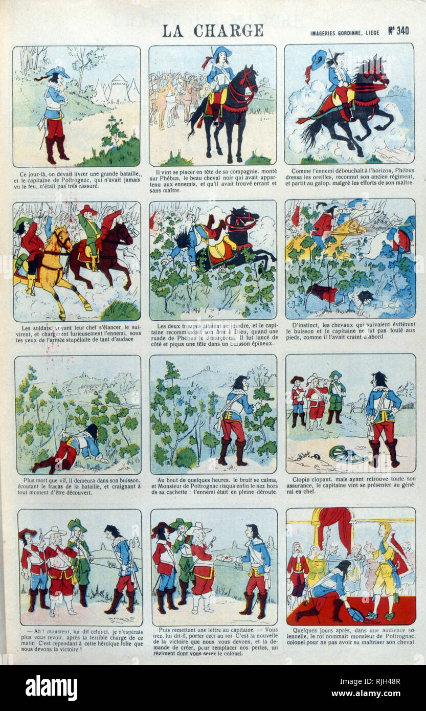 The Charge; a series of 'Epinal images created by Imagerie Pellerin; France 1860. Jean-Charles Pellerin (1756-1836); French draftsman, illustrator and printer. He is famous for the images of epinal which he composed since the Revolution and which he printed himself from 1800. Succeeding his father, he took in 1773 the direction of the 'Factory of Pellerin' 3. From 1796, he expanded his activity and created the 'Imagerie Pellerin'. As early as 1800, he started a small business, a real imaginary industry, which later became known as Imagerie d'epinal. Charles Nicolas Pellerin (1827-1887), his gr - Stock Image