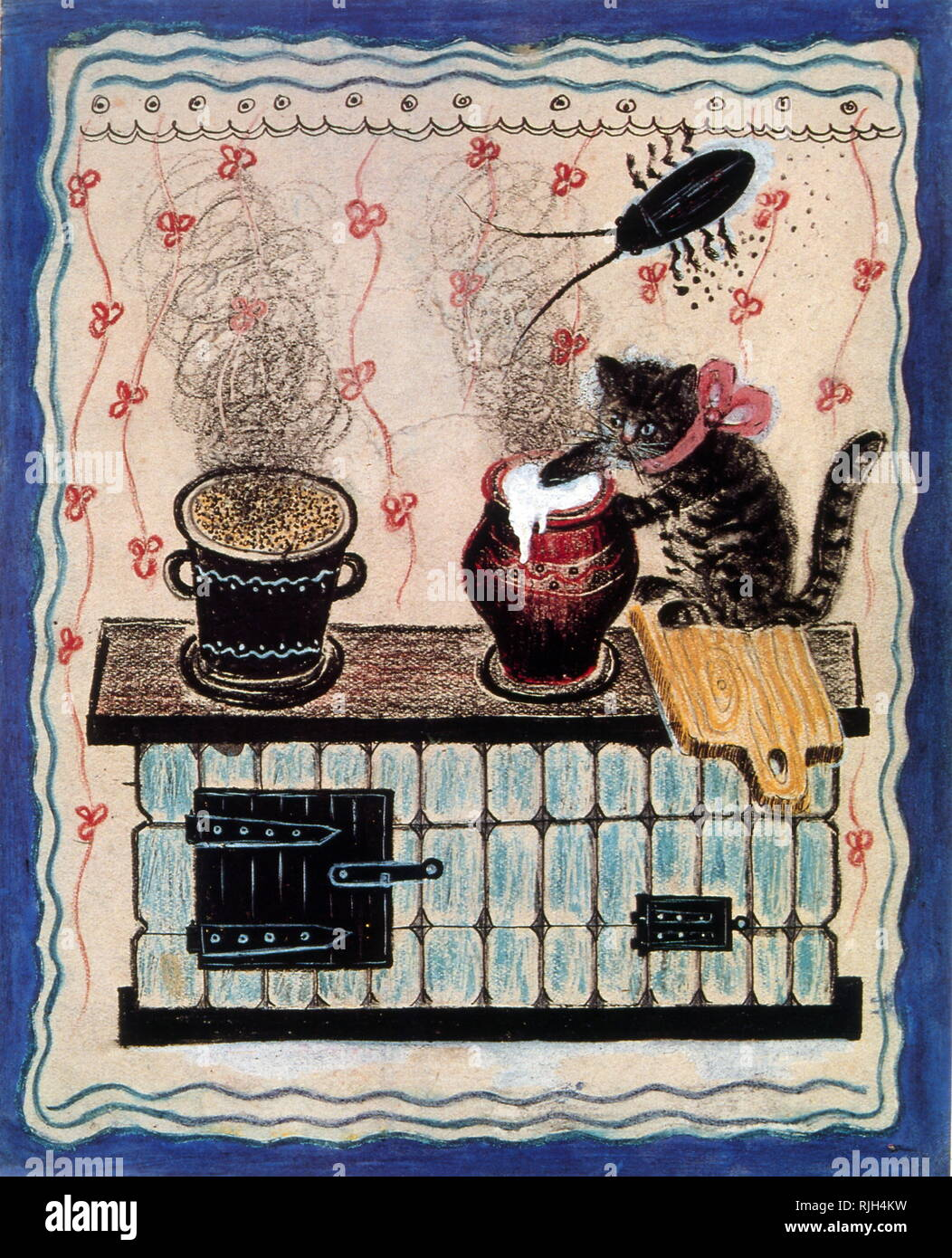 The cat and the Porridge, 1935 by Yuri Vasnetsov (1900-1973), Soviet painter and graphic artist. His work was closely linked with the traditions of Russian folk art - Stock Image