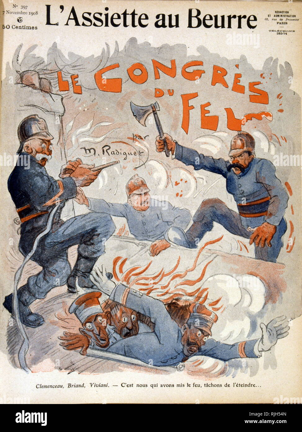 Caricature depicting French statesmen Aristide Briand, Georges Clemenceau and Rene Viviani. 1908 Stock Photo
