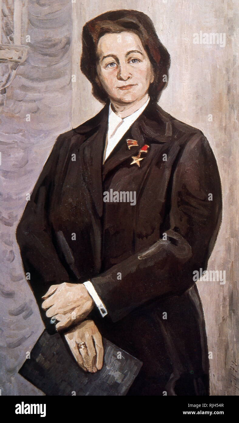 Z. Pukhova Heroine of the Soviet union and member of the Presidium Portrait by M. Maliutin 1974 - Stock Image
