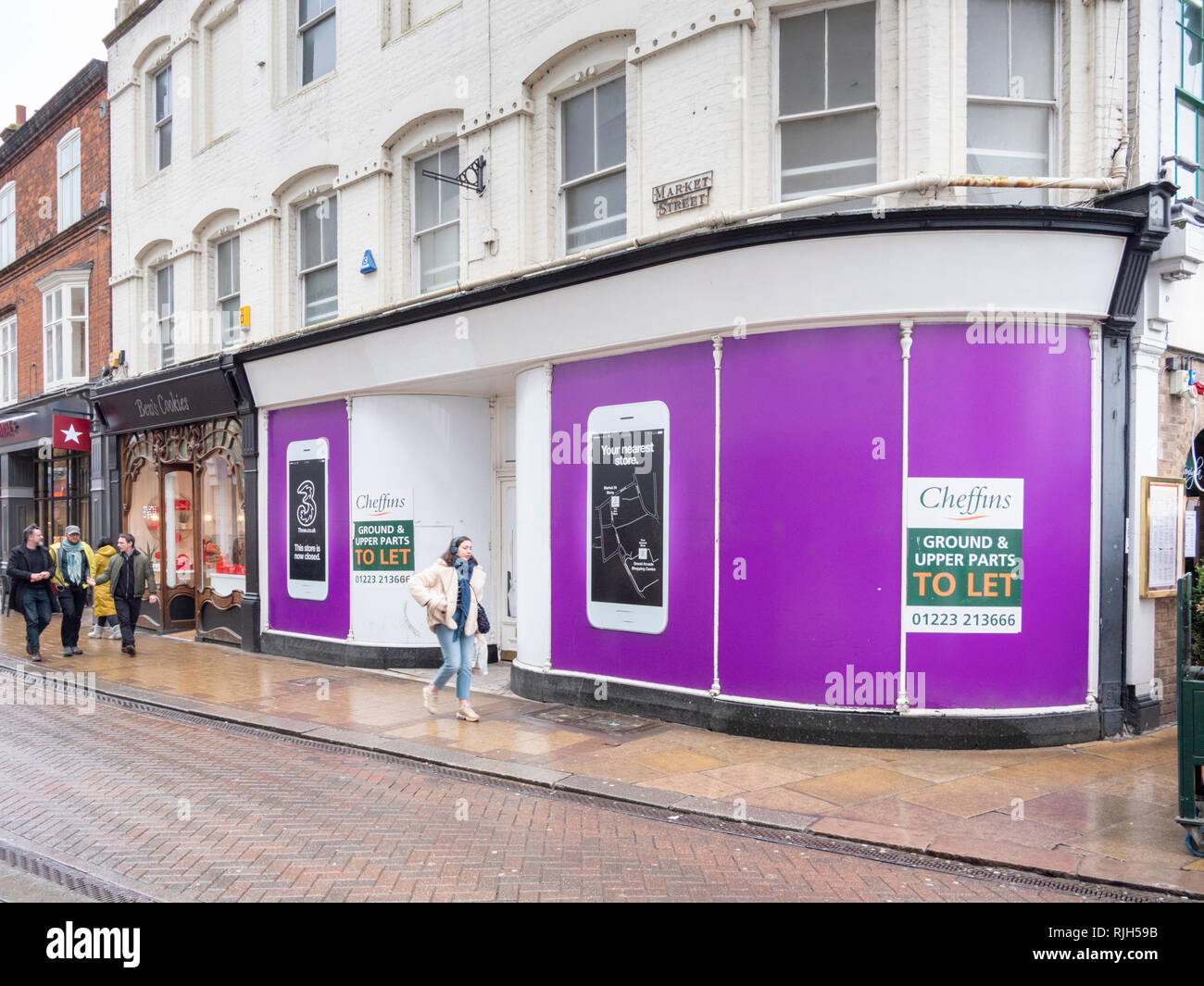 Empty shops and retail units in Cambridge city centre showing the struggling high street retail  economy in the UK - Stock Image