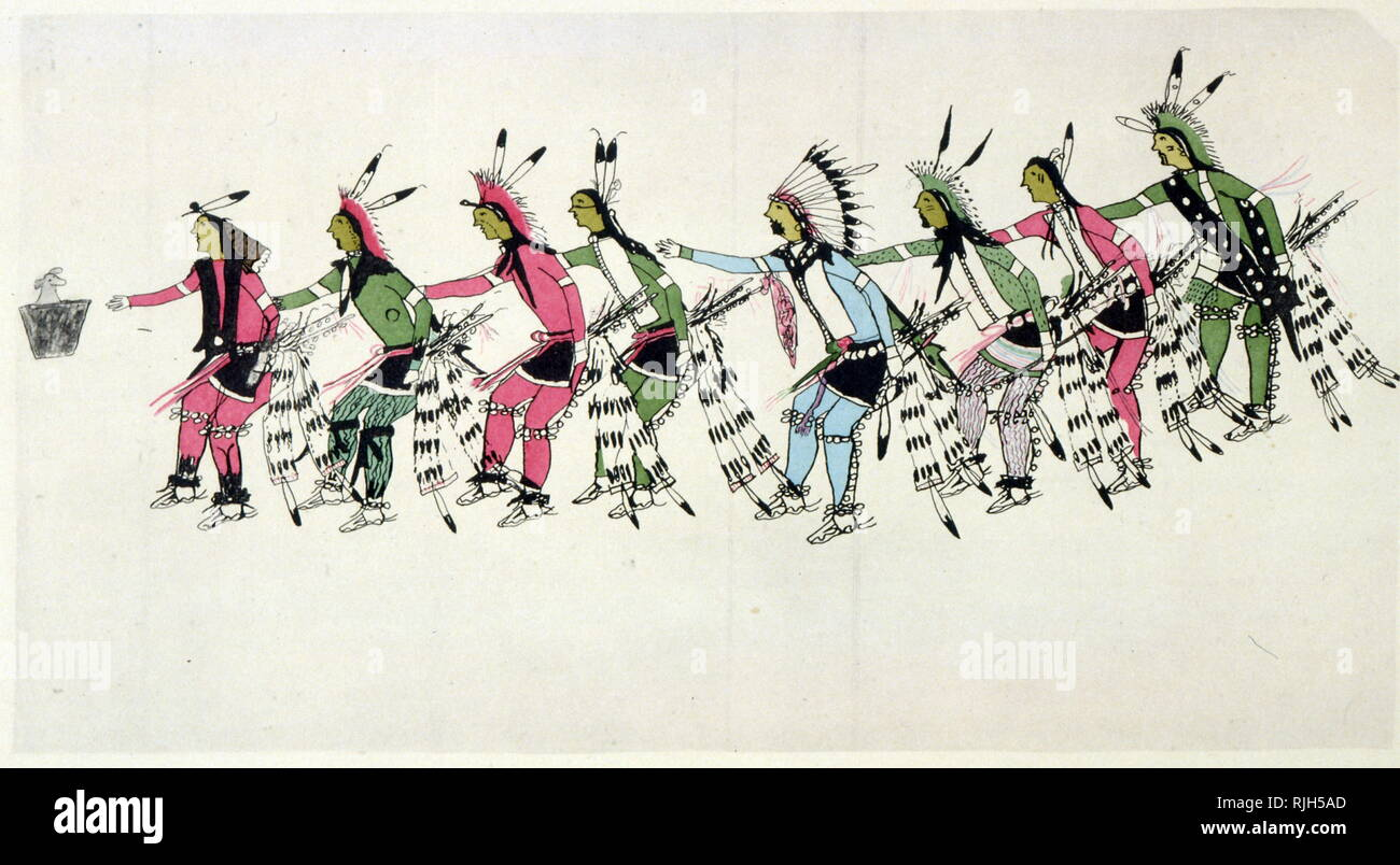 Dance in Honor of the Warrior He Dog; 1900; Drawn by Amos Bad Heart Bull, also known as Wanbli Waphaha (Eagle Bonnet) (ca. 1868-1913), was a noted Oglala Lakota artist in what is called Ledger Art - Stock Image
