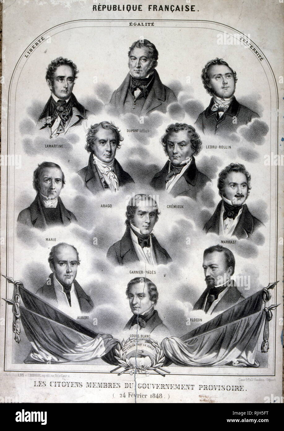 Members of the Provisional Government of France 1848 ( 24 February - May 9 , 1848); set up after the revolution of February 1848. Portraits inset include: Jacques Charles Dupont, Alphonse de Lamartine, Adolphe Cremieux, Francois Arago, Alexandre Ledru-Rollin, Louis-Antoine Garnier-Pages, Pierre Marie, Armand Marrast, Louis Blanc, Ferdinand Flocon, Alexandre Martin, and Alexandre-Albert Martin, (nicknamed Albert worker). - Stock Image