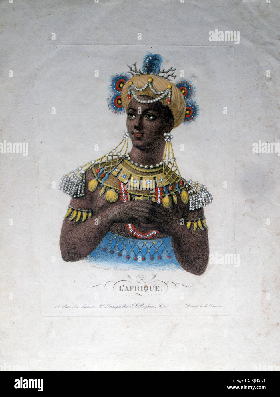 Illustration representing Africa (Afrique); French 1870 - Stock Image
