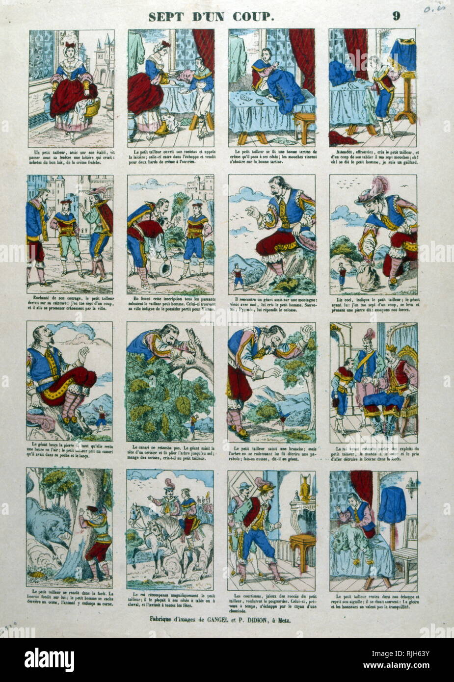 """The Vaillant Little Tailor; German folk tale that is among those collected by the Brothers Grimm in the first volume of Tales of childhood.; a series of 'Epinal images created by Imagerie Pellerin; France 1860. Jean-Charles Pellerin (1756-1836); French draftsman, illustrator and printer. He is famous for the images of epinal which he composed since the Revolution and which he printed himself from 1800. Succeeding his father, he took in 1773 the direction of the """"Factory of Pellerin"""" 3. From 1796, he expanded his activity and created the """"Imagerie Pellerin"""". As early as 1800, he started a small Stock Photo"""