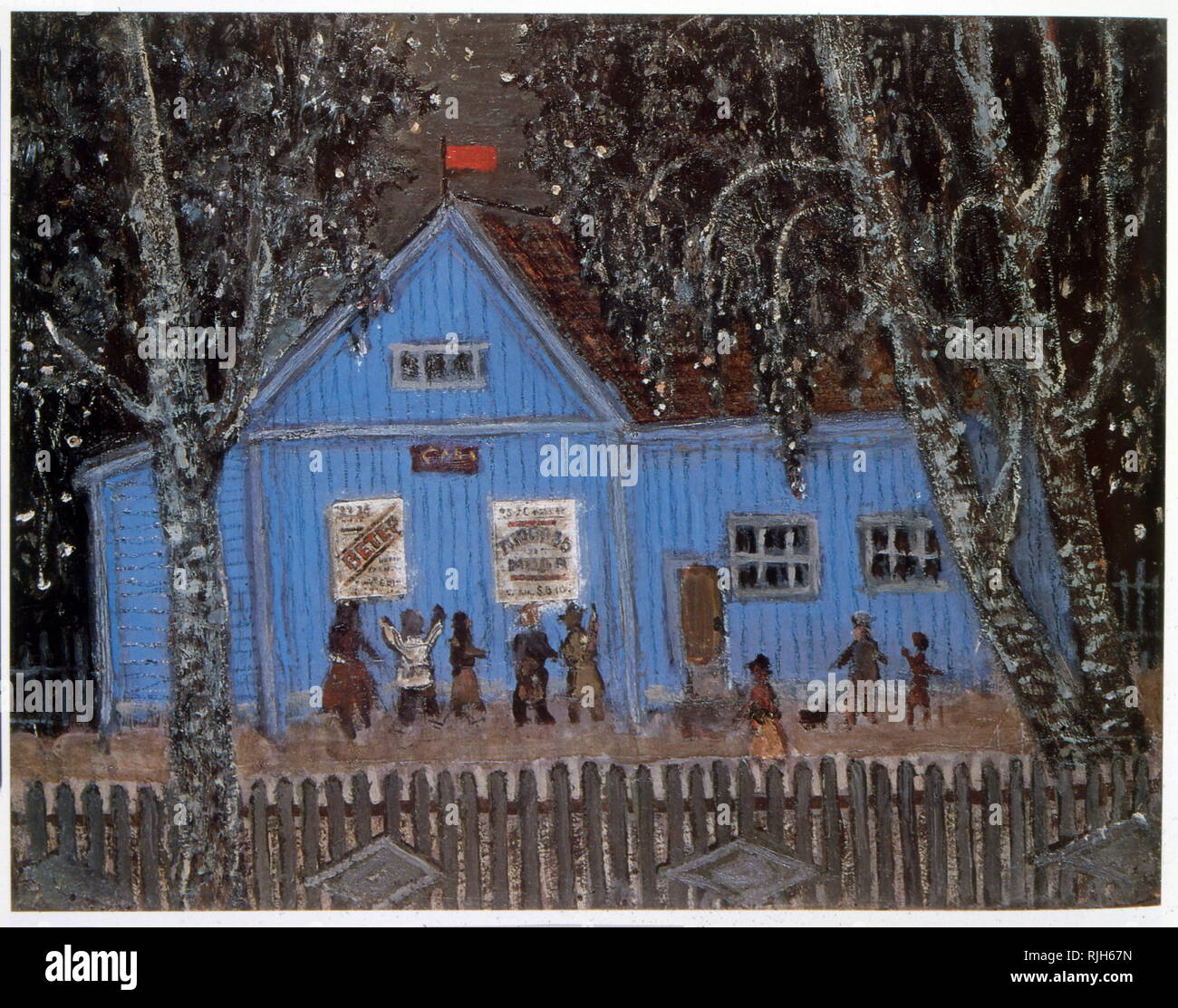 The Cinema, 1964, by Yuri Vasnetsov (1900-1973), Soviet painter and graphic artist. His work was closely linked with the traditions of Russian folk art. Stock Photo