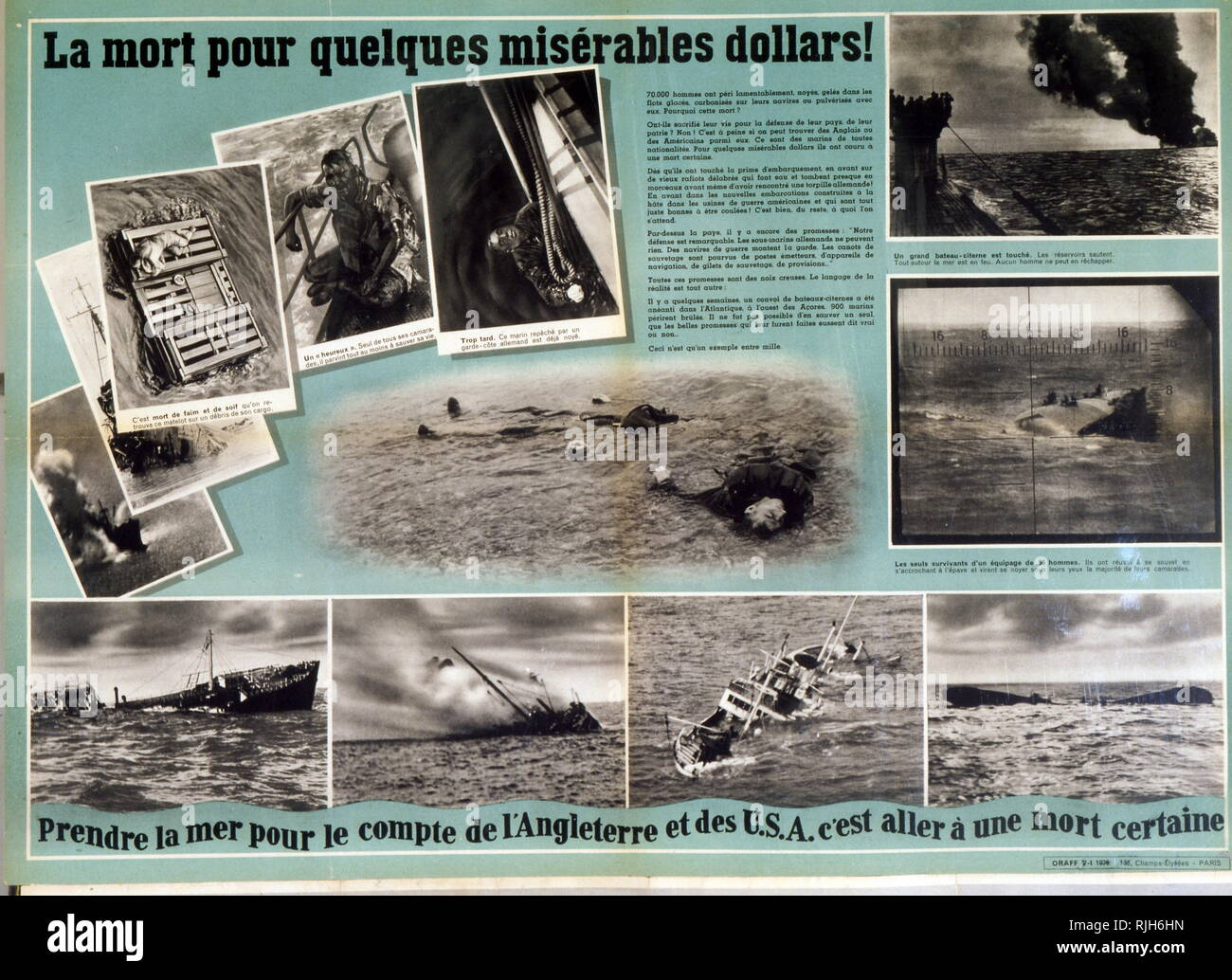 French collaborationist propaganda feature on the pointless and hopeless loss of American and English lives in the Battle for the Atlantic. 1942 World War two. - Stock Image