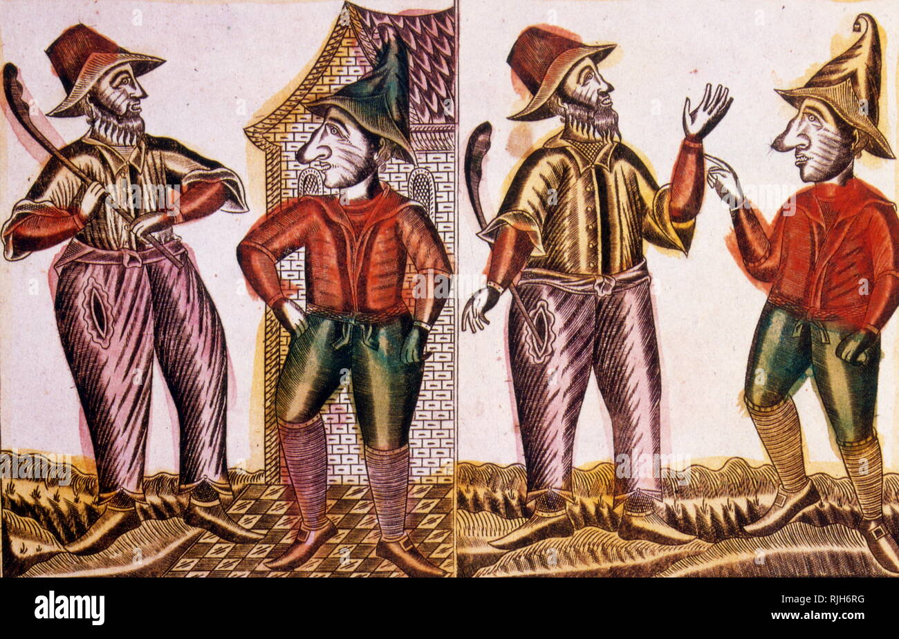 Traditional Russian woodcut showing the story of Mr Frost. 1825 - Stock Image