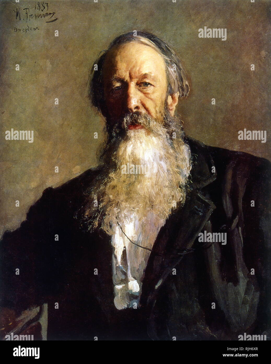 Portrait of V.V. Stasov, 1883, by Ilya Repin (1844 - 1930), Russian, realist painter. Vladimir Vasilievich Stasov (1824 - 1906), respected Russian critic and friend of Tolstoy Stock Photo