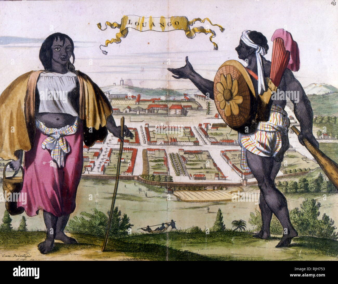 The Kingdom of Loango was a pre-colonial African state, during approximately the 16th to 19th centuries in what is now the western part of the Republic of the Congo. Print 19th century - Stock Image