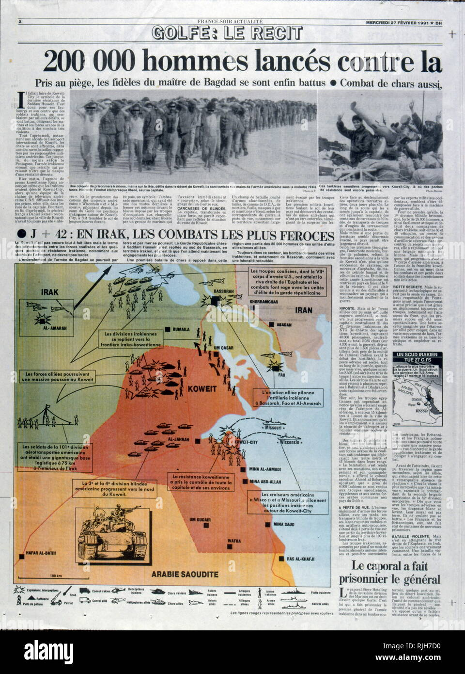 French press coverage of the  Gulf War and Operation Desert Storm  February 1991 - Stock Image