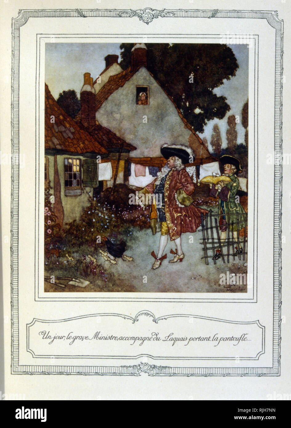 Chromolithograph of the story of Cendrillon (Cinderella). The good fairy godmother visits Cinderella. 1900 - Stock Image