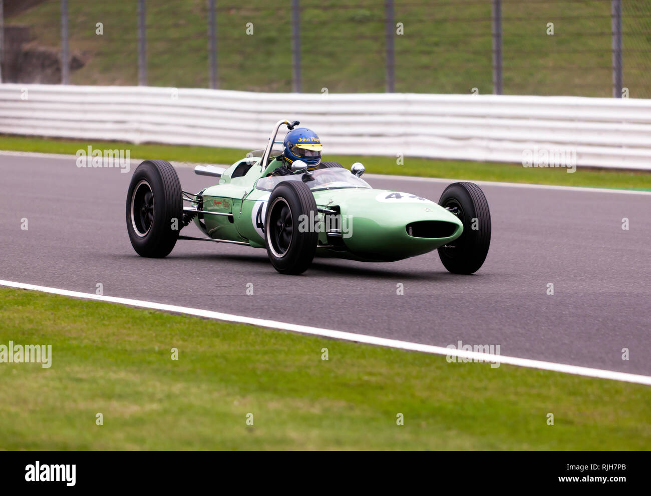 Andrew Beaumont driving his green, 1962, Lotus 24 944 during the  Maserati Trophy for HGPCA Pre'66  Grand Prix Cars, Silverstone Classic 2017 Stock Photo