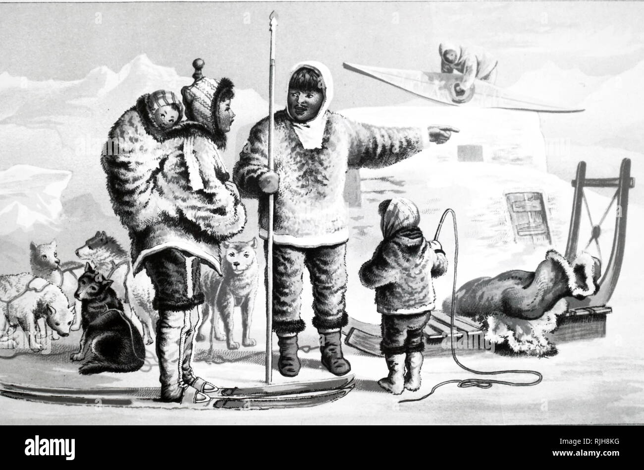 A chromolithograph depicting a family of Eskimos dressed in animal fur. Eskimo (Esquimaux) or Inuit-Yupik, indigenous peoples of the Arctic regions. Dated 19th century - Stock Image