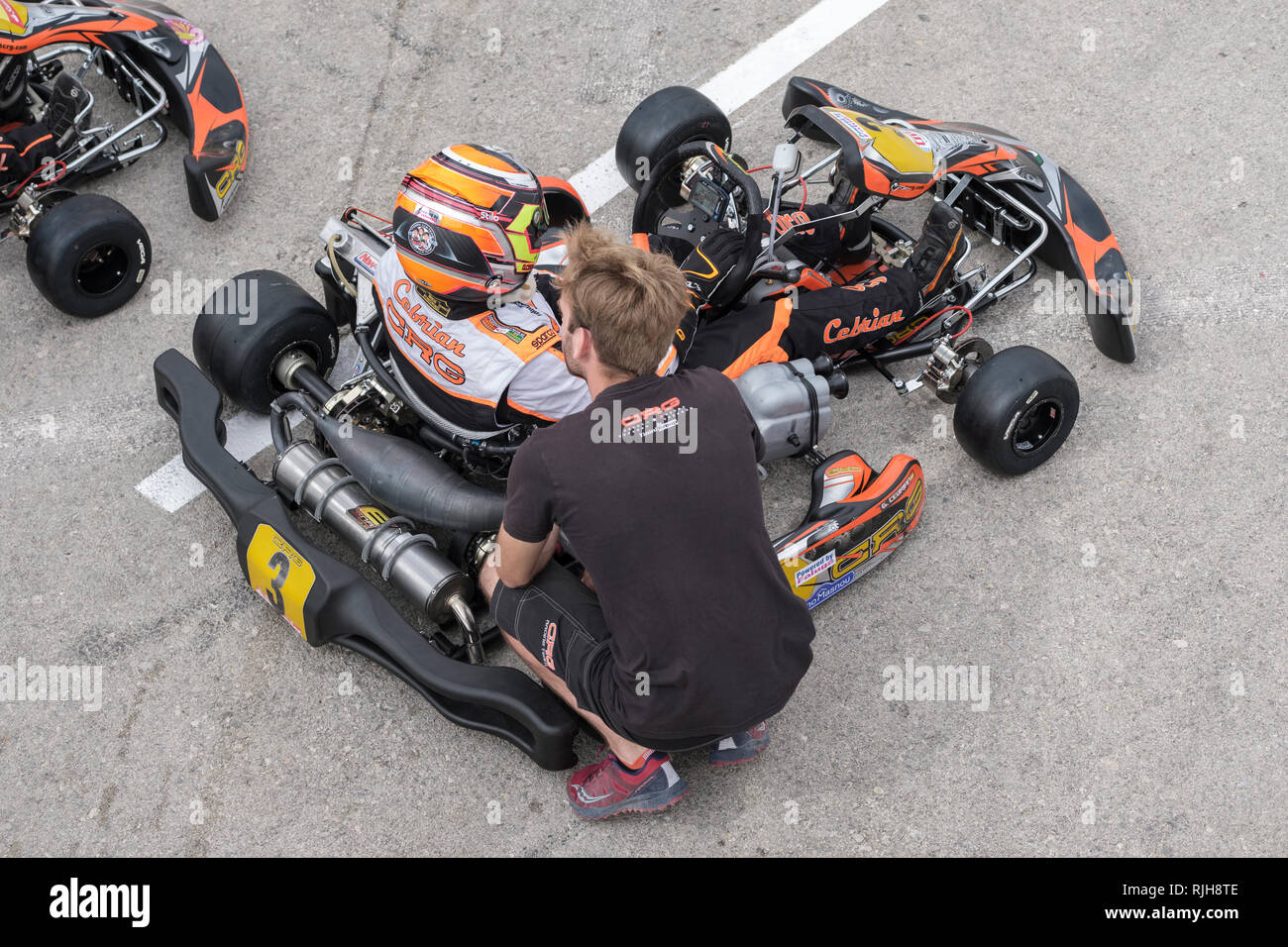 malaga kart Young Go kart drivers receiving advice before leaving paddock