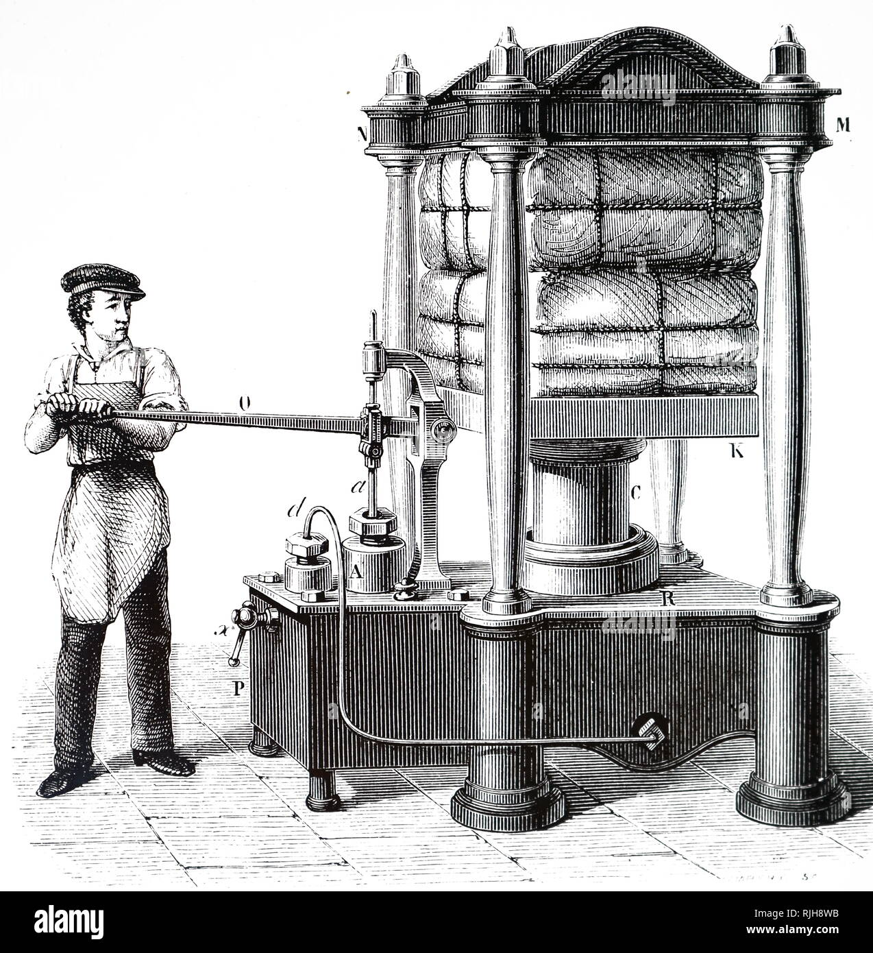 An engraving depicting a hand-powered hydraulic press: material to be compressed is placed on a plate which is raised and lowered by piston, c, which descends into a tank of water. The tank is connected to the force pump (left) using a leaden tube. When the pump handle is operated, water in the tank beneath C rises, so lifting the piston and compressing the bales. Joseph Bramah (1748-1814) an English inventor and locksmith who is best known for inventing the hydraulic press. Dated 19th century - Stock Image