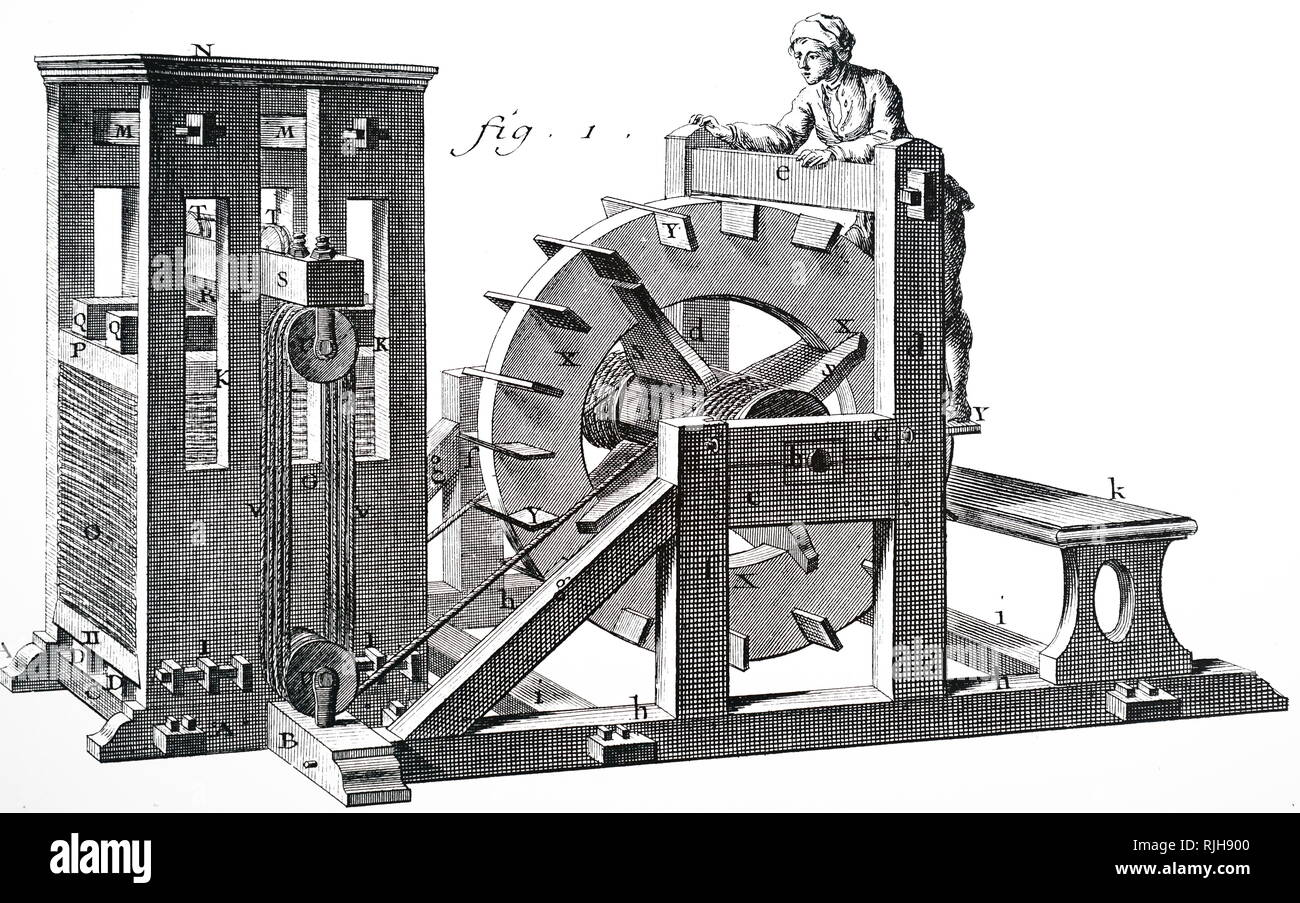 A woodcut engraving depicting a man-powered treadmill being used to operate a press. Dated 18th century - Stock Image