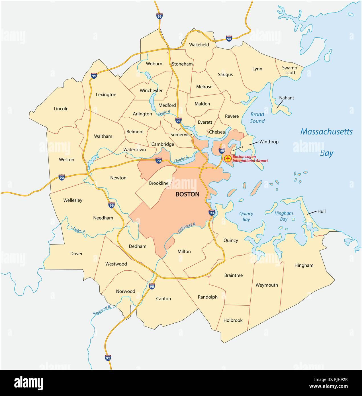 vector map of the Greater Boston metropolitan region ... on