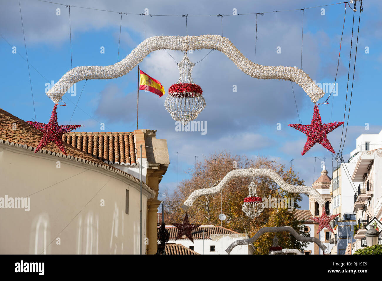 Streetscene outside bullring with christmas decorations, Ronda, Malaga, Andalucia, Spain, - Stock Image