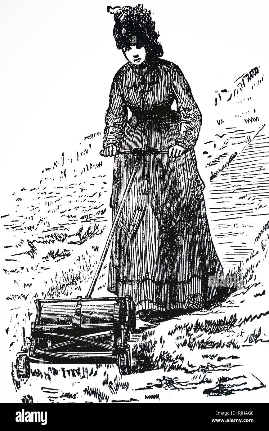 An engraving depicting a young woman using a boxless lawnmower manufactured by Parkinson of Ripon, Yorkshire, and marketed under the same name of the Studley lawnmower. Dated 19th century - Stock Image