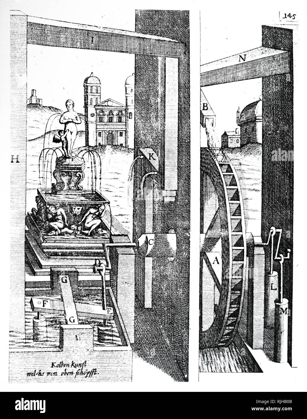 Drawing showing Pump driven by overshot water wheel, used to raise water into a reservoir, to operate the ornamental fountain in the background. From Georg Andreas Bockler; Theatrum Machinarum Novum, Nuremberg, 1673 - Stock Image