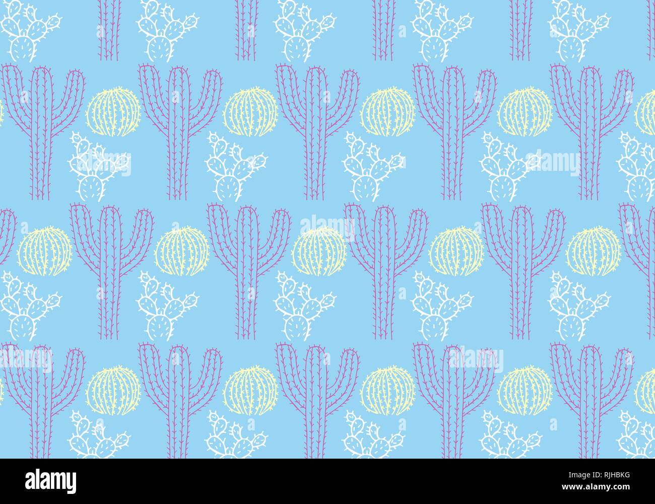 Cactus Vector Pattern In A Blue Yellow White And Purple Color