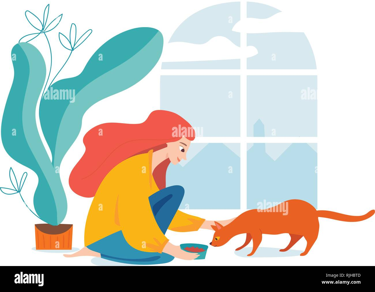 Hygge illustration with a womal feed a cat - Stock Image
