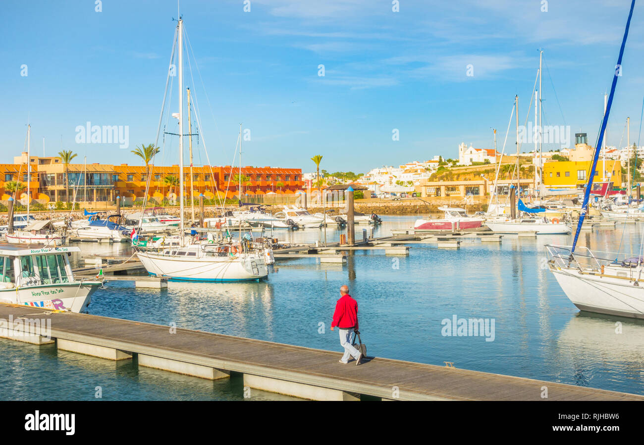yachts and condominium, portimao marina - Stock Image