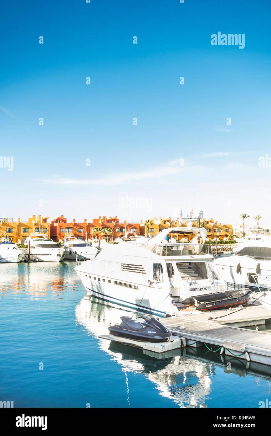 yachts and condominium, portimao marina, - Stock Image