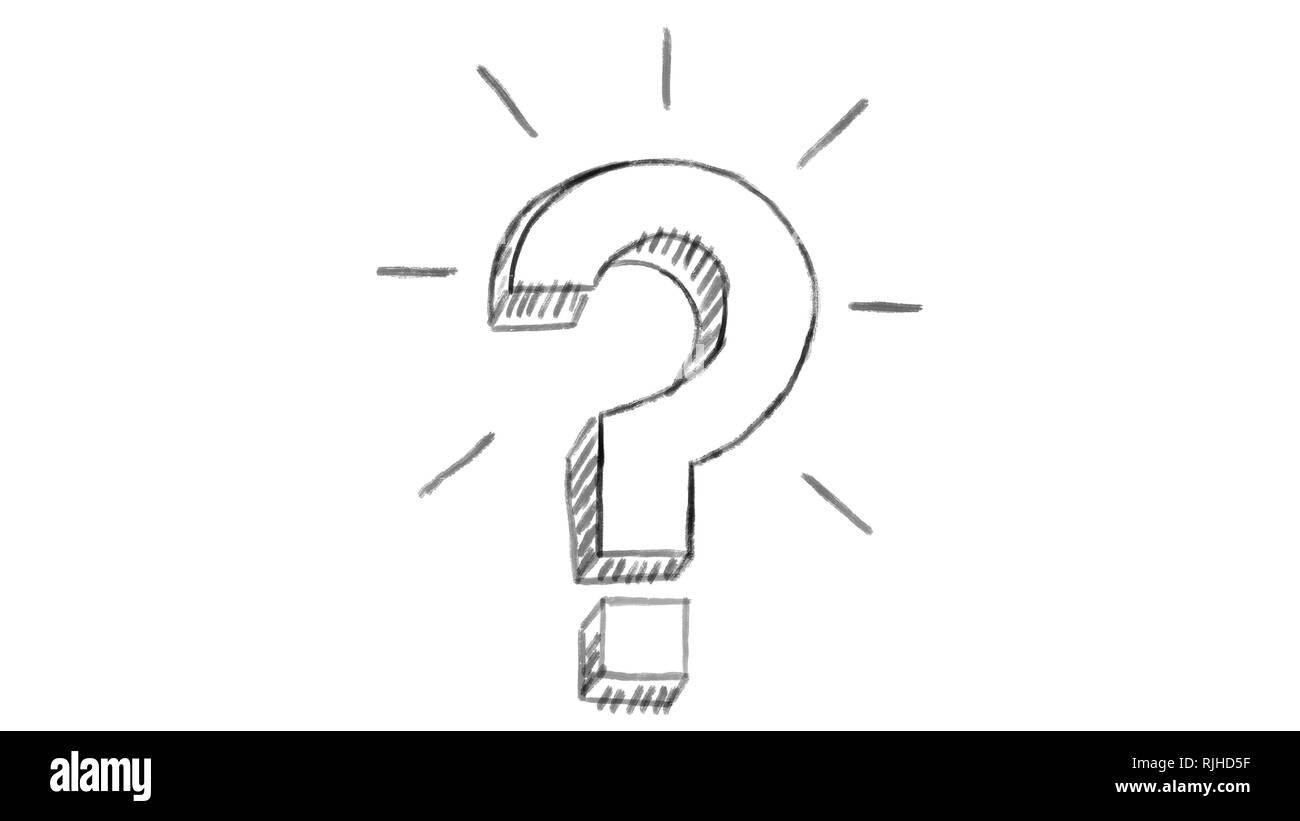 animated question mark, white chalk section, ideal for compositing, use as a mask, ideal footage to represent the idea concept - Stock Image