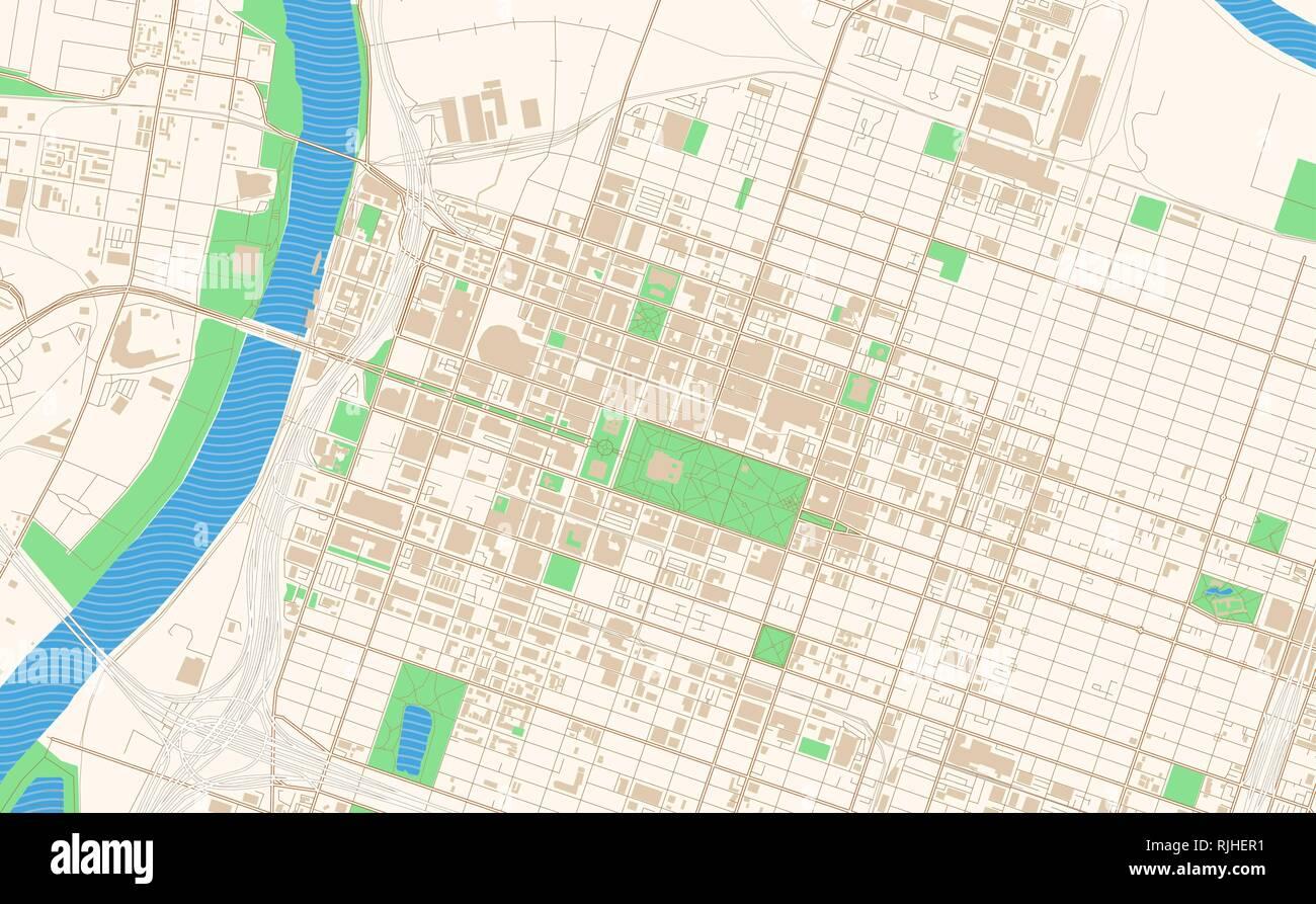 Sacramento California printable map excerpt. This vector streetmap on