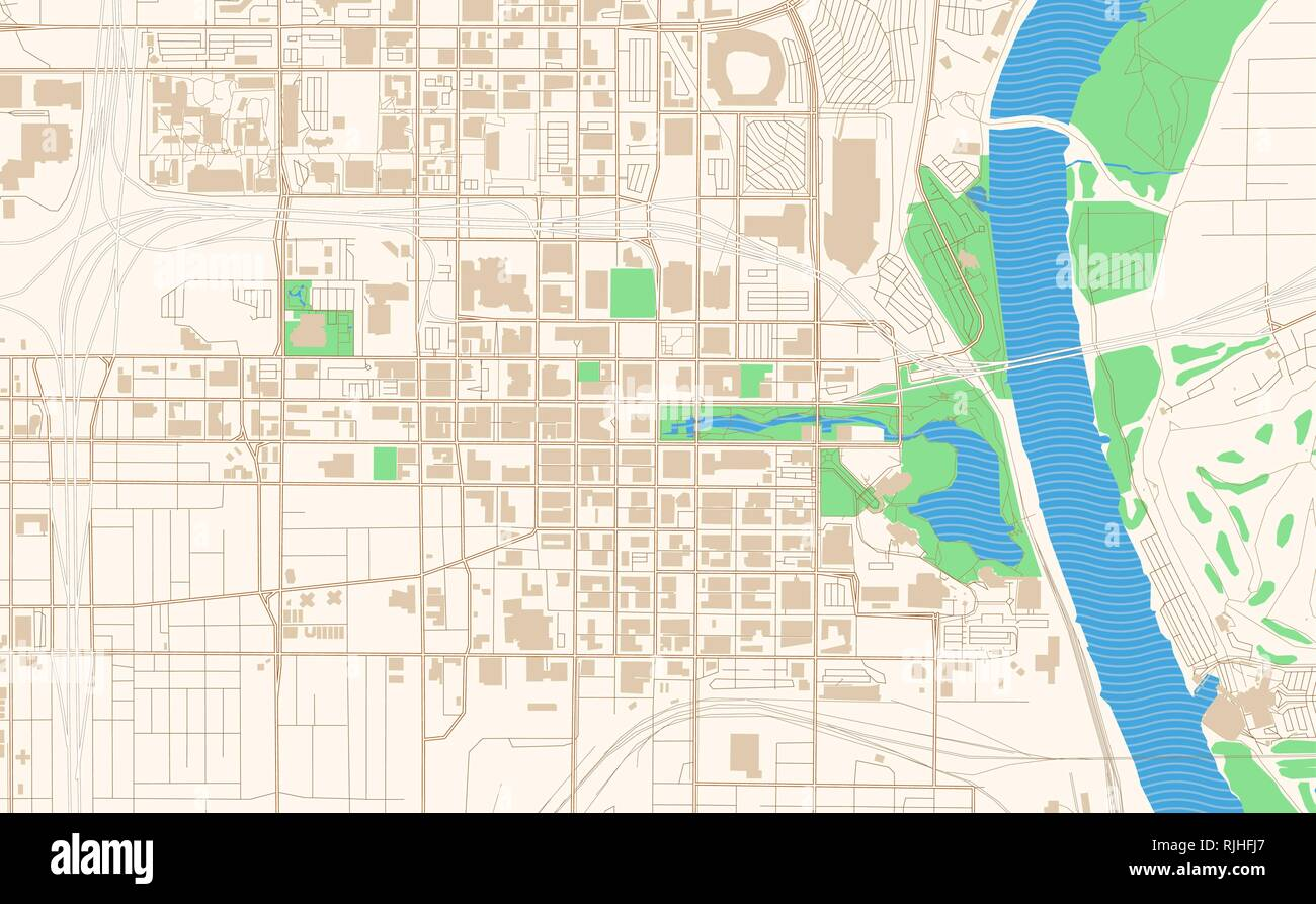 Omaha Nebraska printable map excerpt. This vector streetmap of downtown Omaha is made for infographic and print projects. - Stock Image