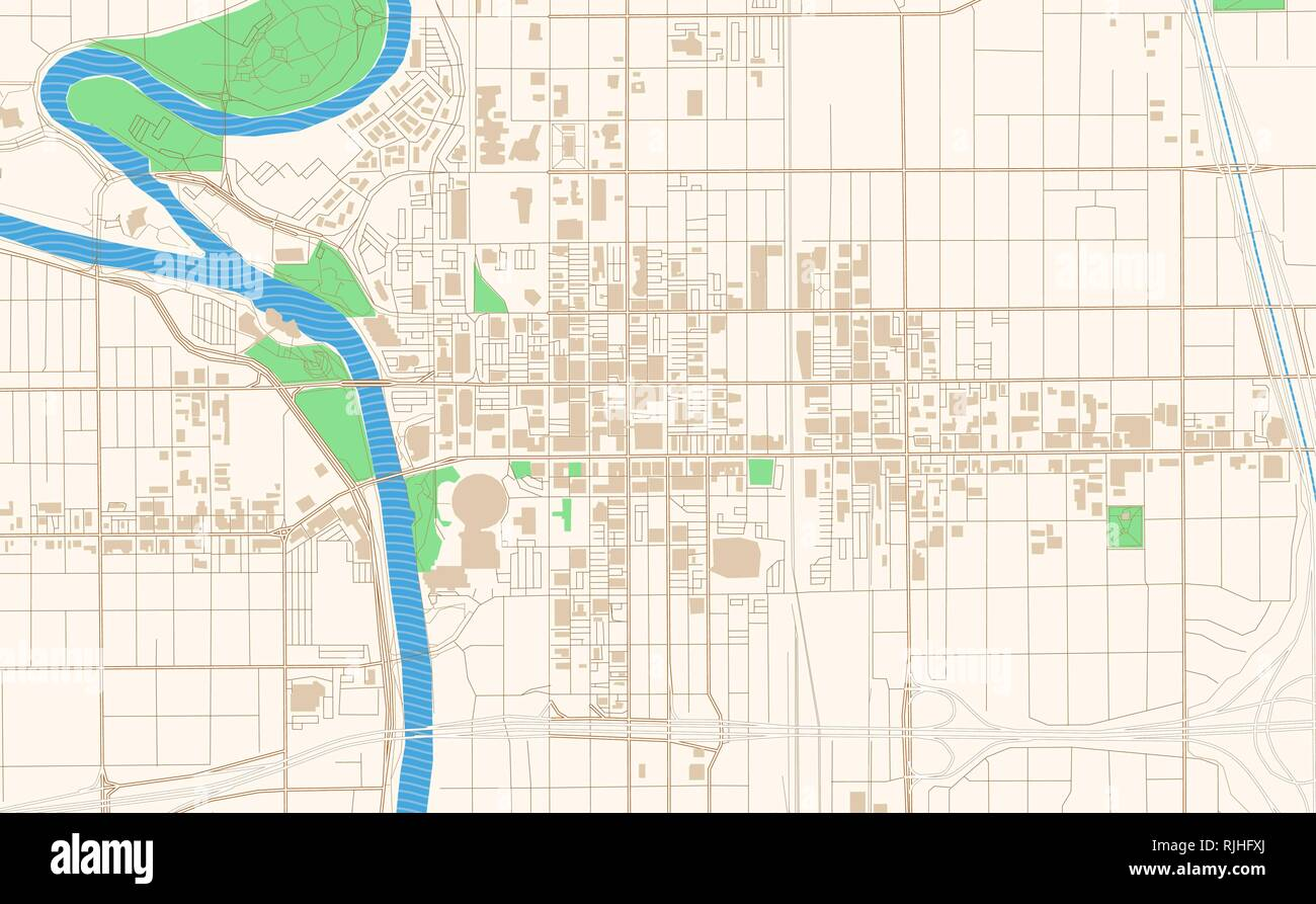 Printable Downtown Chicago Map, Wichita Kansas Printable Map Excerpt This Vector Streetmap Of Downtown Wichita Is Made For Infographic And Print Projects, Printable Downtown Chicago Map