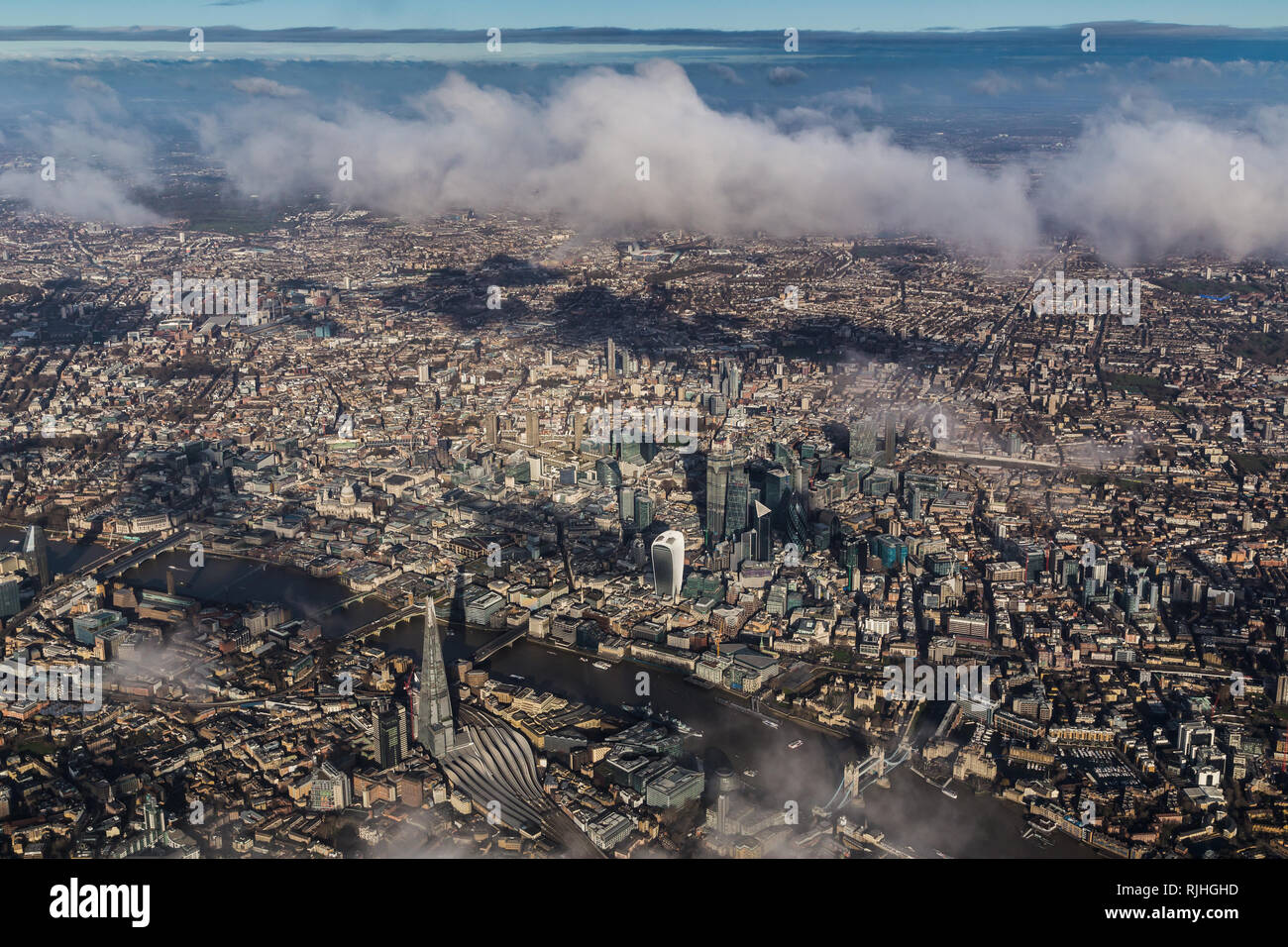 Aerial view of central London looking North over the Shard Stock Photo