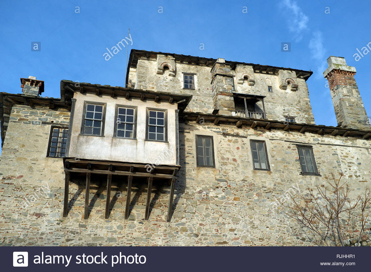 The Tower of Ouranoupolis, in the village of Ouranoupoli, Chalkidiki, Central Macedonia, Greece. Stock Photo