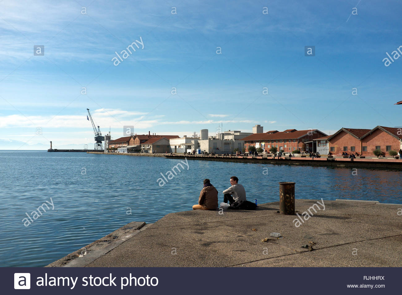 View of Dock A, the old port area of Thessaloniki, in Central Macedonia, Greece. Stock Photo