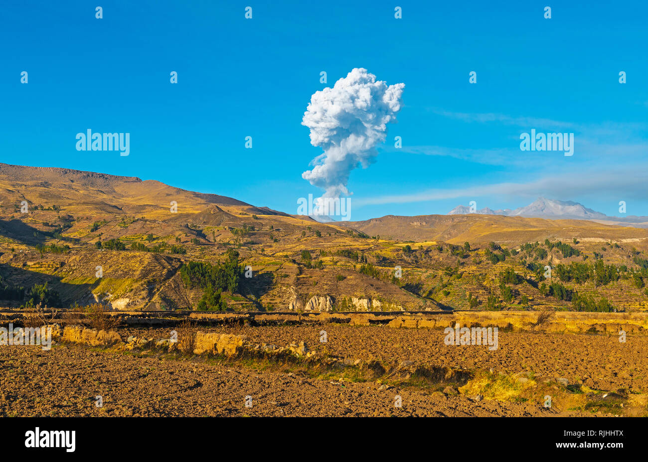Ash clouds explosion during an eruption of the Sabancaya volcano nearby the Colca Canyon between Chicay and Arequipa, Peru. - Stock Image