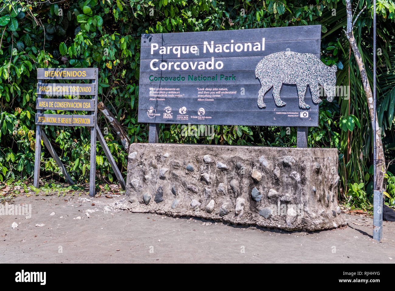 A photo of the sign at the entrance to the beautiful Corcovado National Park, one of the most biodiverse places on Earth. Costa Rica - Stock Image