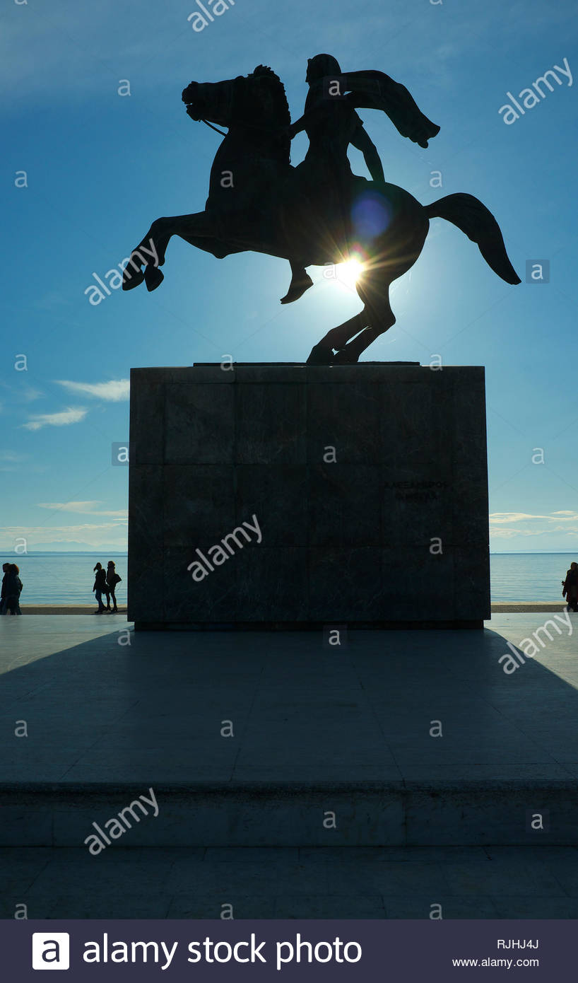 Alexander the Great statue, by the waterfront in the city of Thessaloniki, Central Macedonia, Greece. Stock Photo