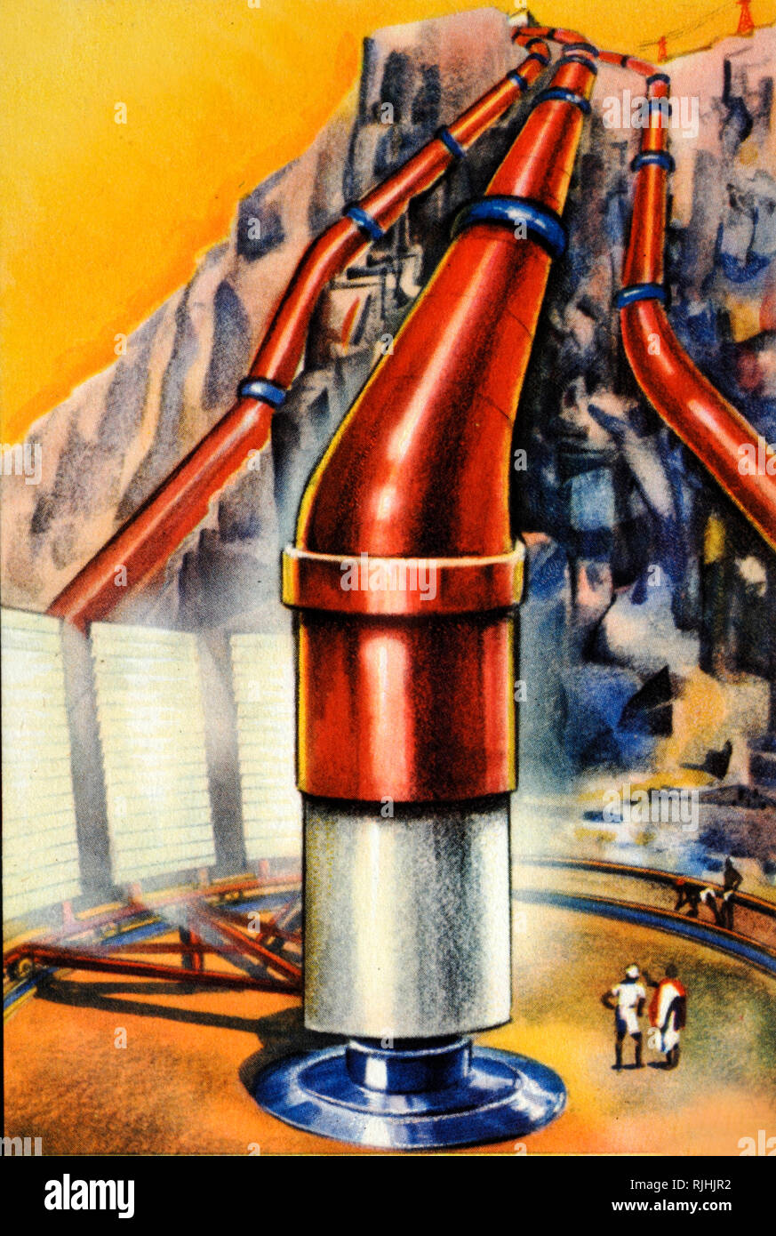 Futuristic Solar Energy Mirrors or Solar Panels Reflecting Sunlight Onto Central Turbine and Hot Water Pipes (Illustration c1940) - Stock Image