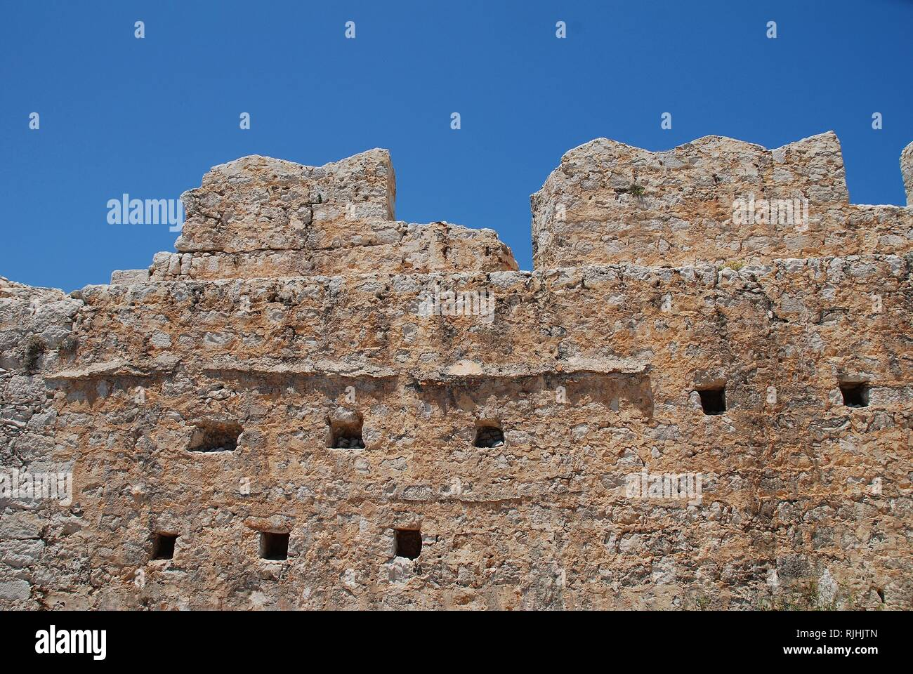 The remains of the medieval Crusader Knights castle above Chorio on the Greek island of Halki. - Stock Image