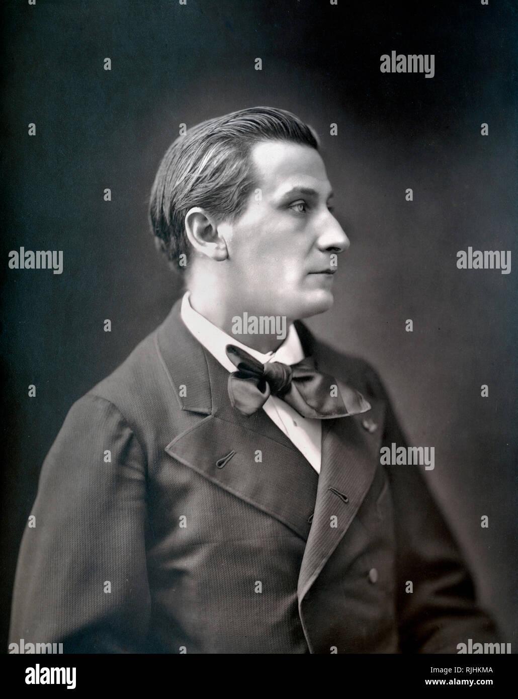 Portrait of François Edouard Joachim Coppée (1842-1908) French Poet & Novelist. Portrait photograph c1880 by Nadar - Stock Image