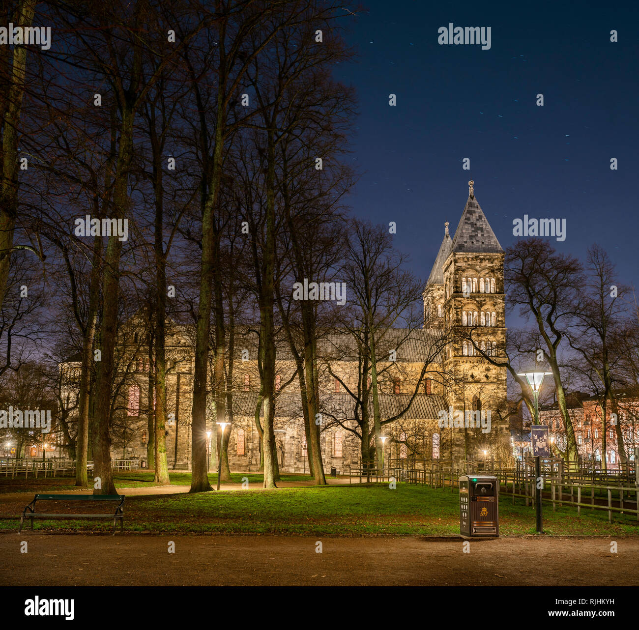 The Cathedral (Domkyrkan) at night, Lund, Skane, Sweden, Scandinavia - Stock Image