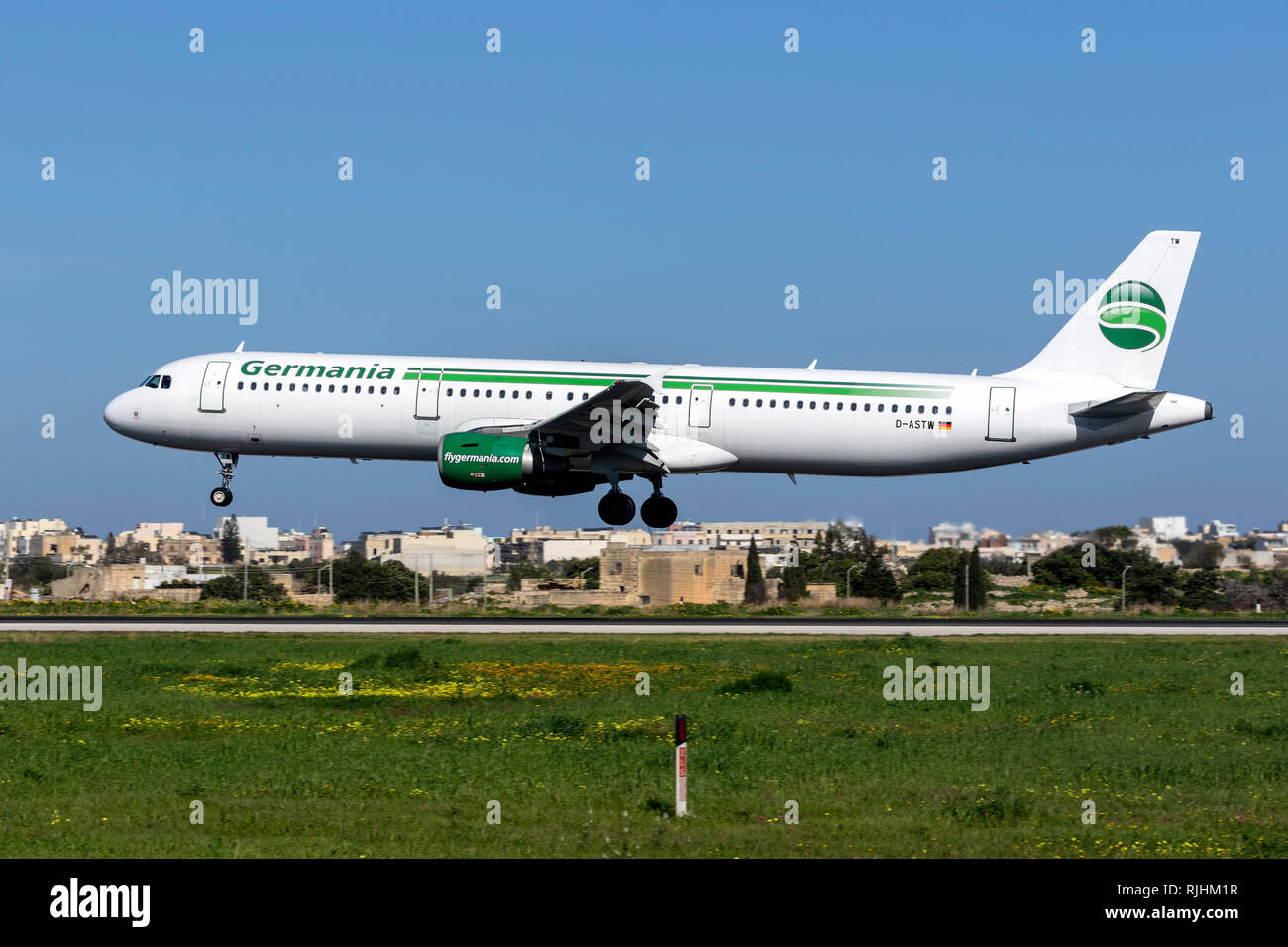 Germania Airbus A321-211 (REG: D-ASTW) landing runway 31, operating the last flight to MLA before going bankrupt. - Stock Image