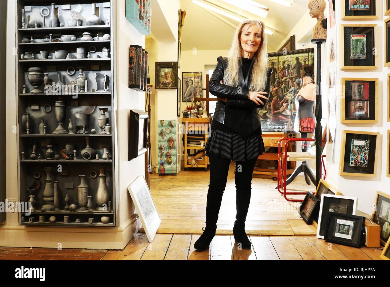 Artist PJ Crook at her home and studio in Bishop's Cleeve - Stock Image